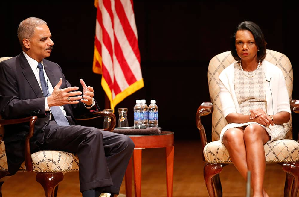 United States Attorney General Eric Holder, and former US Secretary of State Condoleezza Rice participate in a discussion, moderated by UAB President Ray L. Watts,