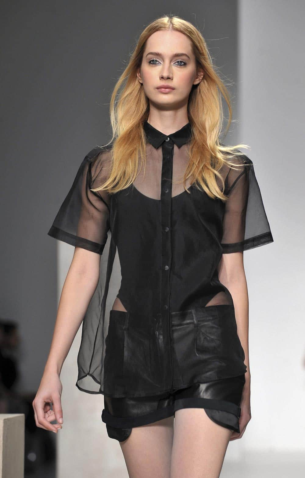 A model wears a design created by Zoe Jordan at London Fashion Week Spring/Summer 2014, at Somerset House in London.