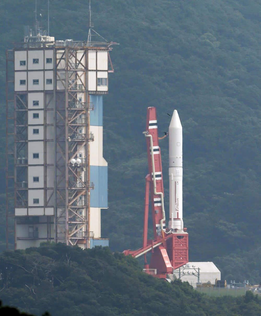 An Epsilon rocket sits on the launch pad at the Uchinoura Space Center in Kimotsuki town, Kagoshima, western Japan.