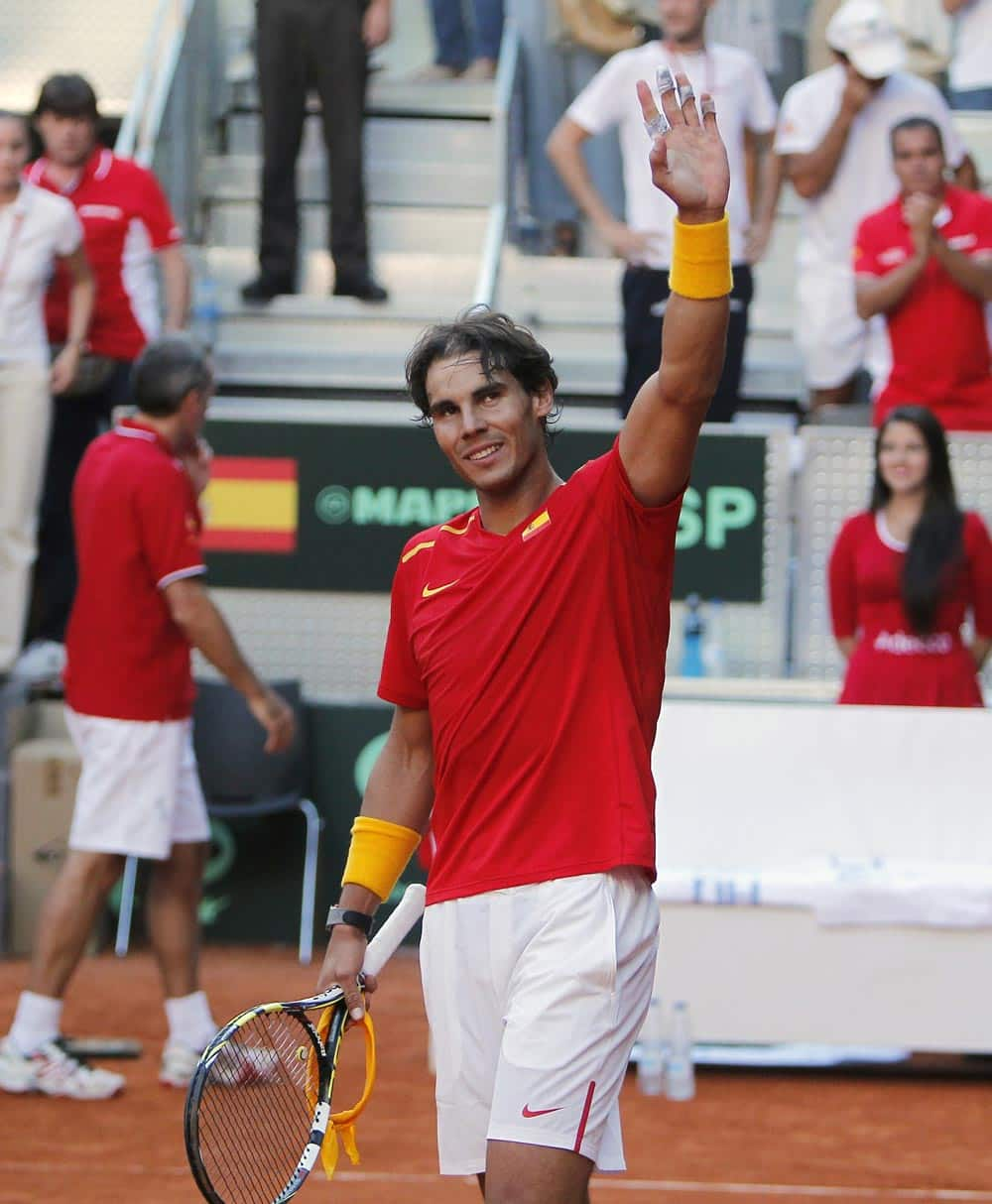 Spain`s Rafael Nadal celebrates his victory during a match against Ukraine`s Sergiy Stakhovky on the first day of the World Group play-off Davis Cup tennis in Madrid.