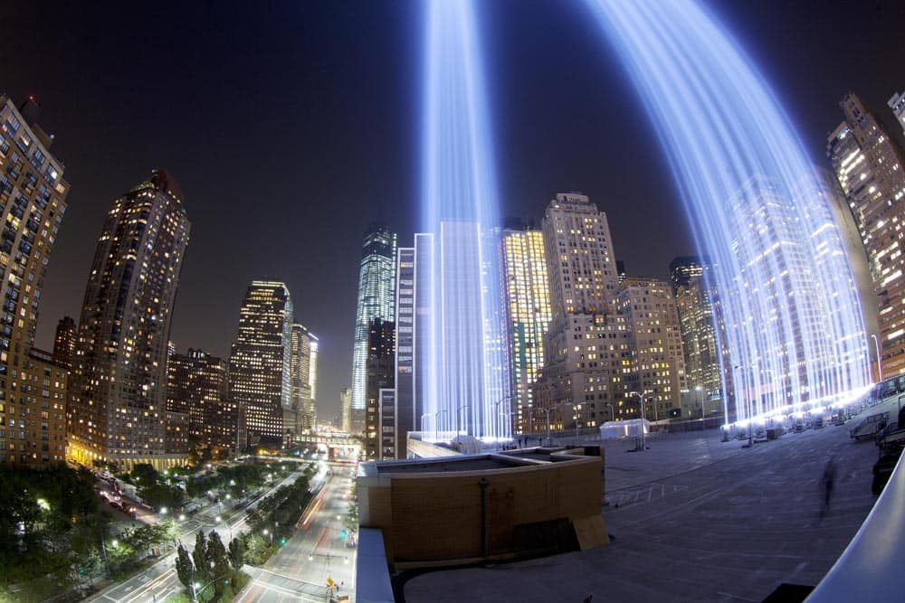 This photo made with a fisheye lens, the Tribute in Light rises above buildings in lower Manhattan, during a test, in New York. The light display commemorates the twin towers of the World Trade Center that were destroyed in terrorist attacks 12 years ago on Sept. 11, 2001.