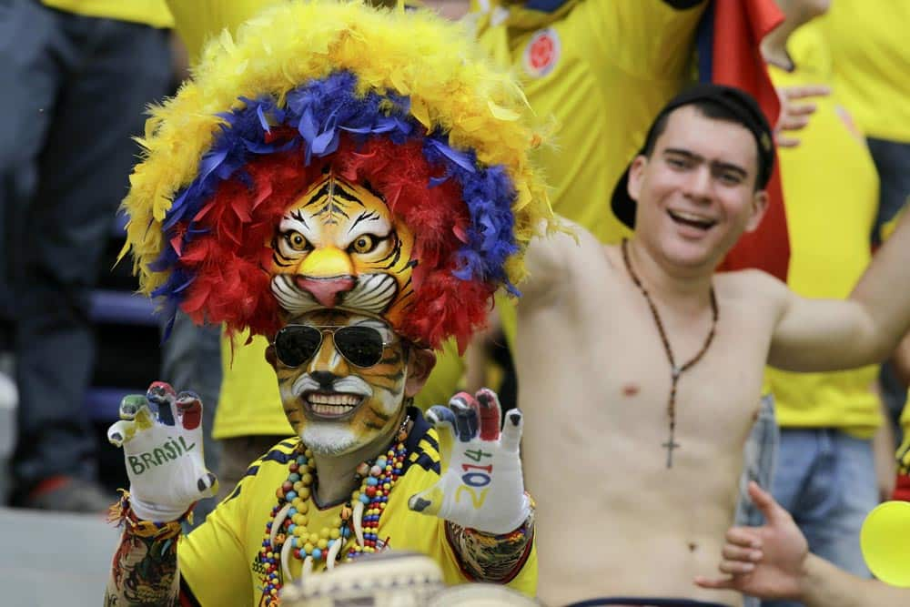 Fans wait for the start of a 2014 World Cup qualifying match between Colombia and Ecuador in Barranquilla, Colombia.