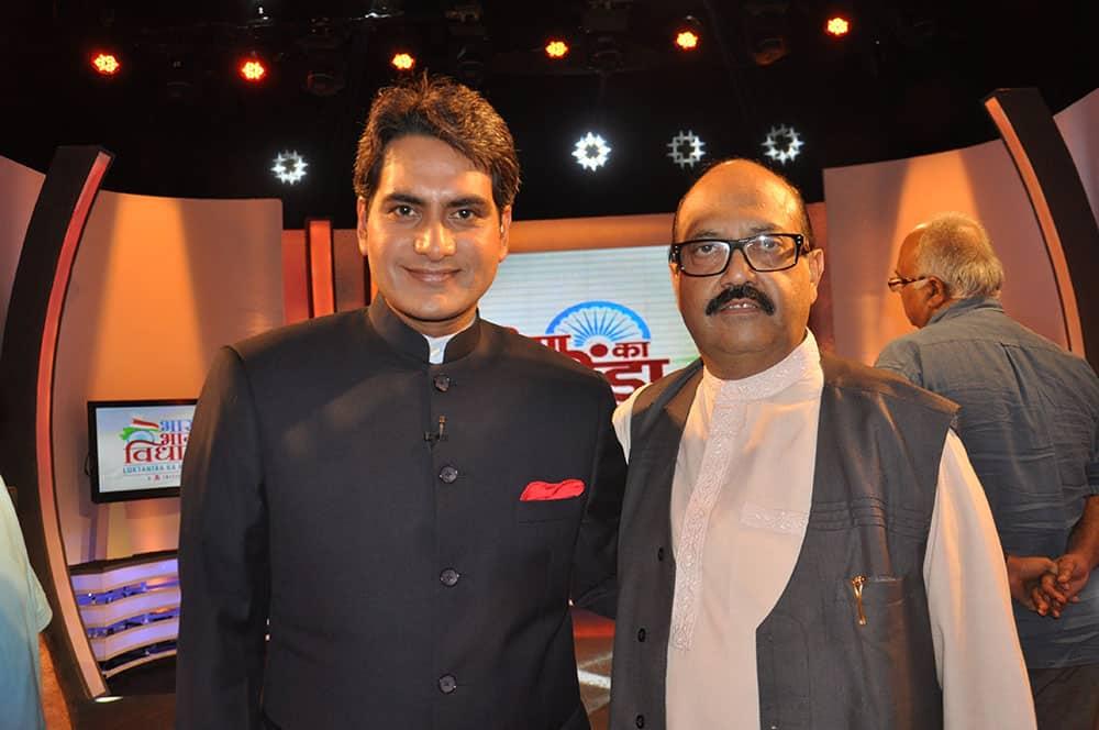 Anchor Sudhir Chaudhary with former SP leader Amar Singh.
