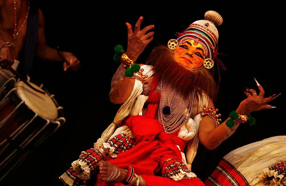 A Kathakali artist performs in Chennai, India. Kathakali is a classical dance that was created in the ancient kingdoms that now make up Kerala.