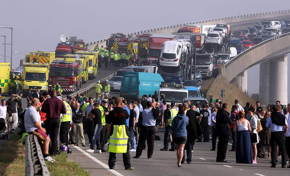 A general view of the scene on the London bound carriageway of the Sheppey Bridge Crossing near Sheerness in Kent, south England, following a multi vehicle collision earlier this morning.