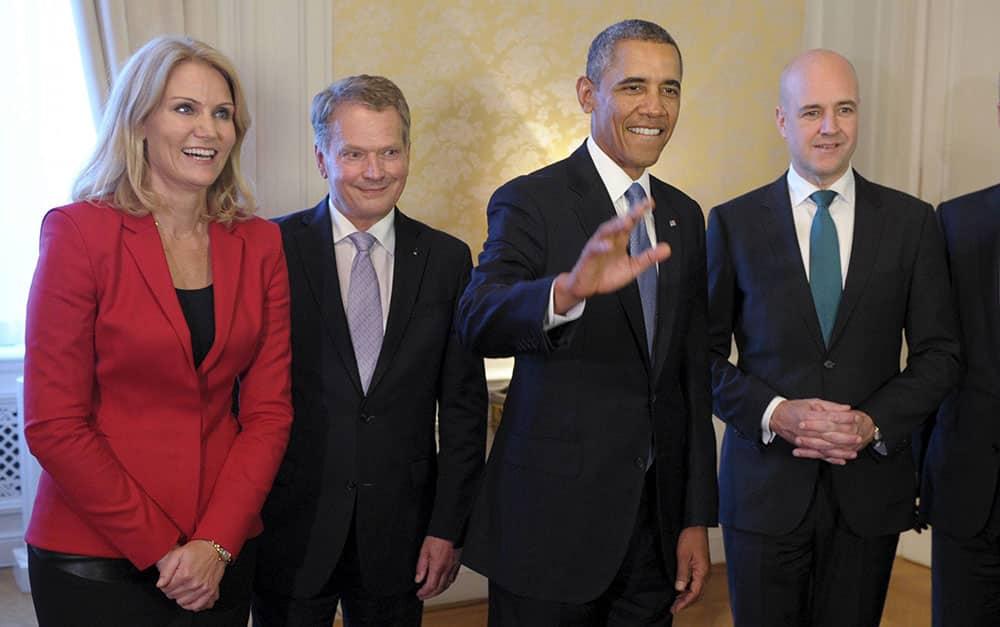 Danish Prime Minister Helle Thorning-Schmidt , Finnish President Sauli Niinistö, US President Barack Obama and Swedish Prime Minister Fredrik Reinfeldt during the Nordic Dinner in Stockholm, Sweden.
