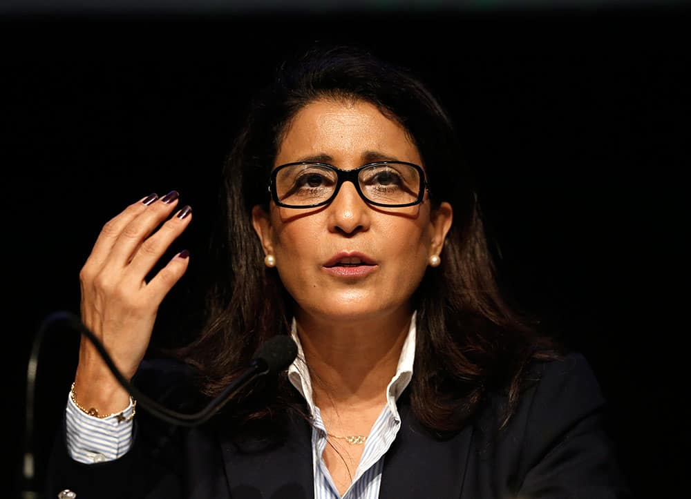 Nawal El Moutawakel, head of the IOC Evaluation Commission, talks with the media during a press conference in Rio de Janeiro, Brazil.