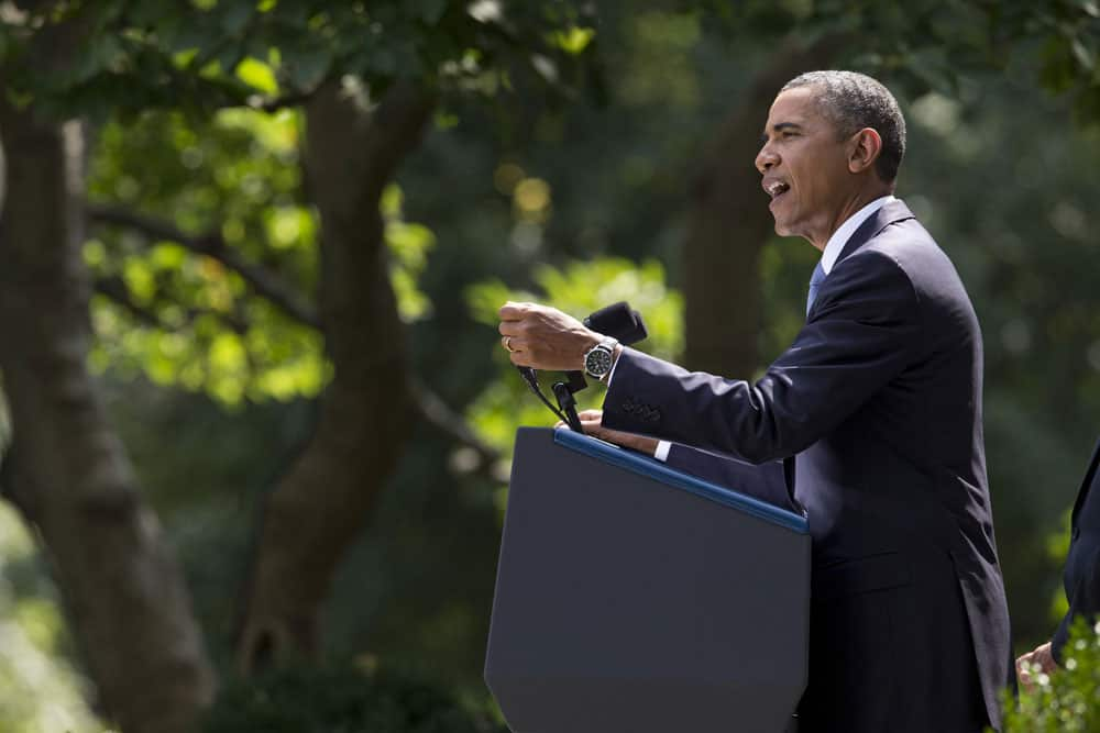 President Barack Obama makes a statement about the crisis in Syria in the Rose Garden of the White House in Washington.
