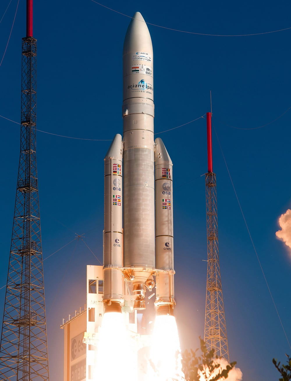 An Ariane 5 rocket is launched in Kourou, French Guiana. India's first exclusive defence satellite, the GSAT-7, was successfully launched, and according to news reports the satellite is expected to give a major push to the country's maritime security.