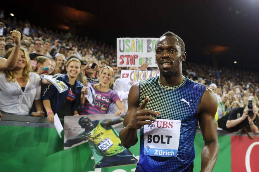 Usain Bolt from Jamaica reacts after winning the men`s 100m race, during the Weltklasse IAAF Diamond League international athletics meeting in the Letzigrund stadium in Zurich, Switzerland.