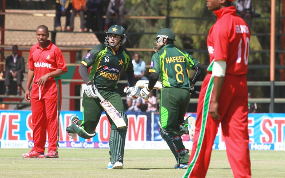 Pakistan batsman Nasir Jamshed and Muhammad Hafeez make a quick run during the one day international series against Zimbabwe in Harare.