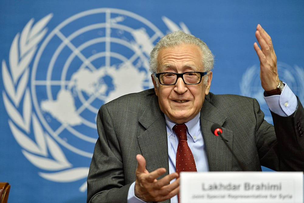 The UN Joint Special Representative for Syria Lakhdar Brahimi speaks on developments related to Syria during a press conference at the European headquarters of the United Nations in Geneva, Switzerland.