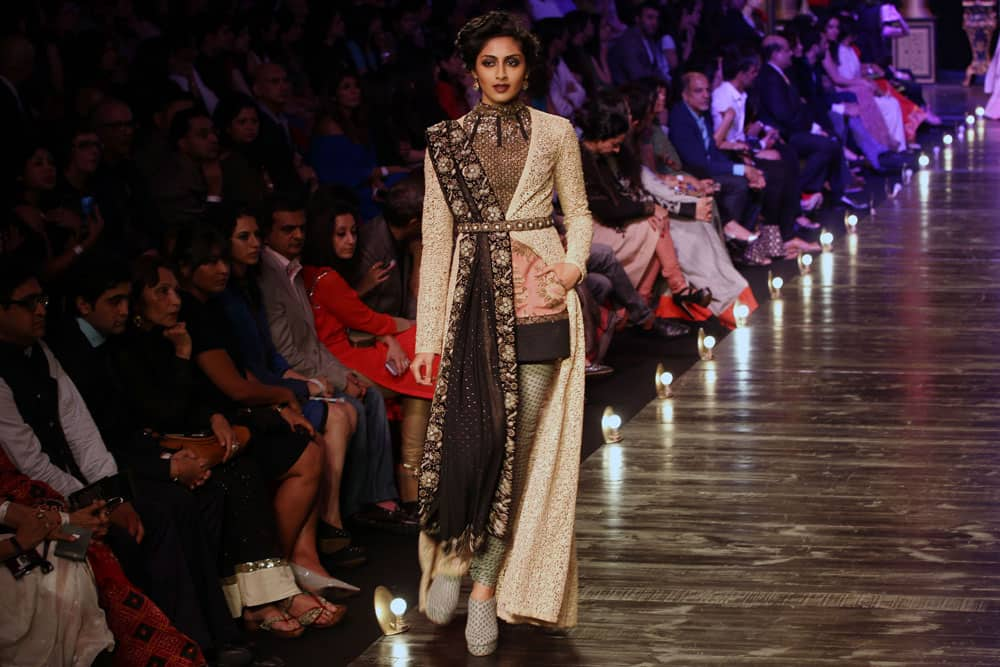 Model displays a creation by Sabyasachi during grand finale of the Lakme Fashion week in Mumbai.