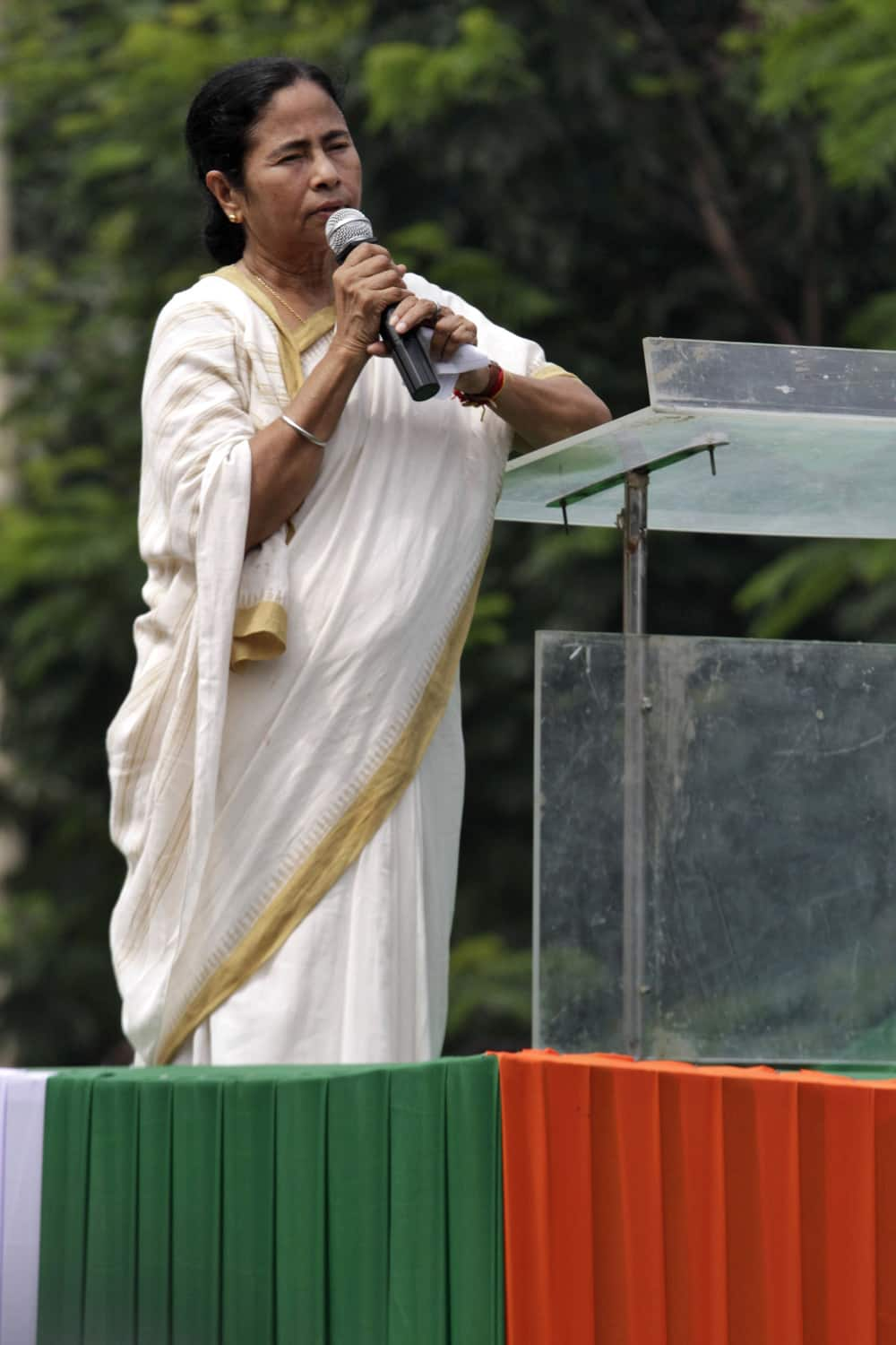 West Bengal state Chief Minister and Trinamul Congress leader Mamata Banerjee addresses a rally of students and youth in Kolkata.