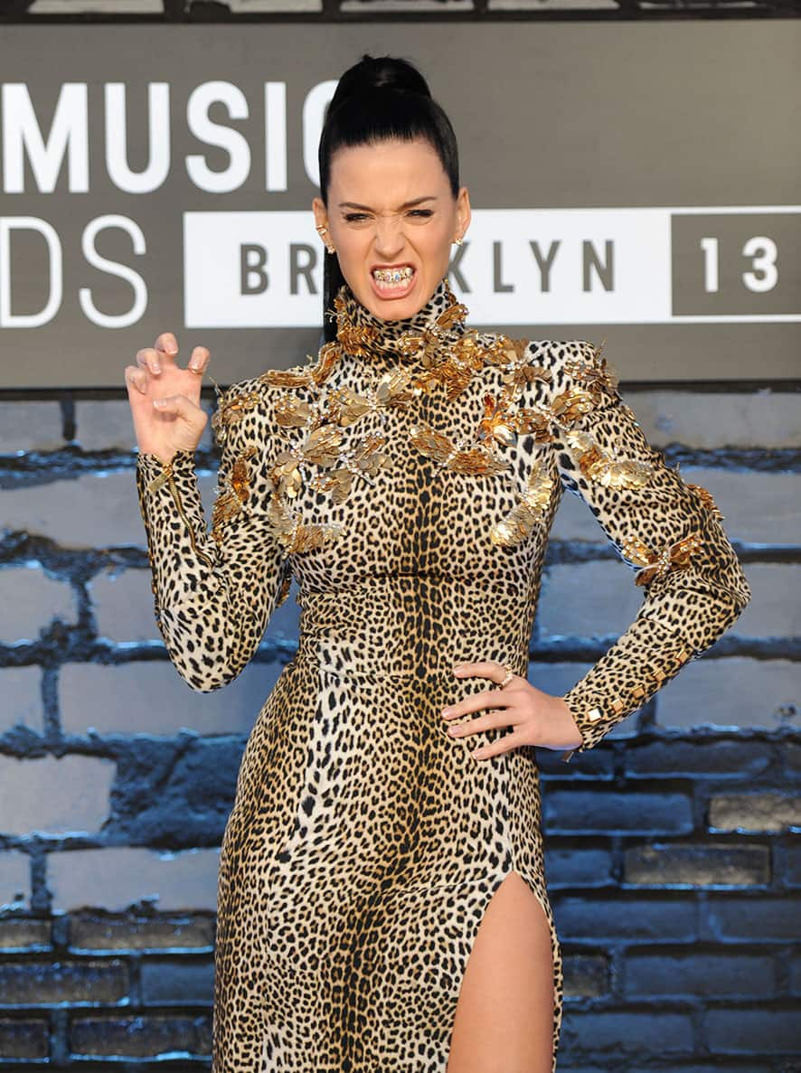 Katy Perry wears a grill that says