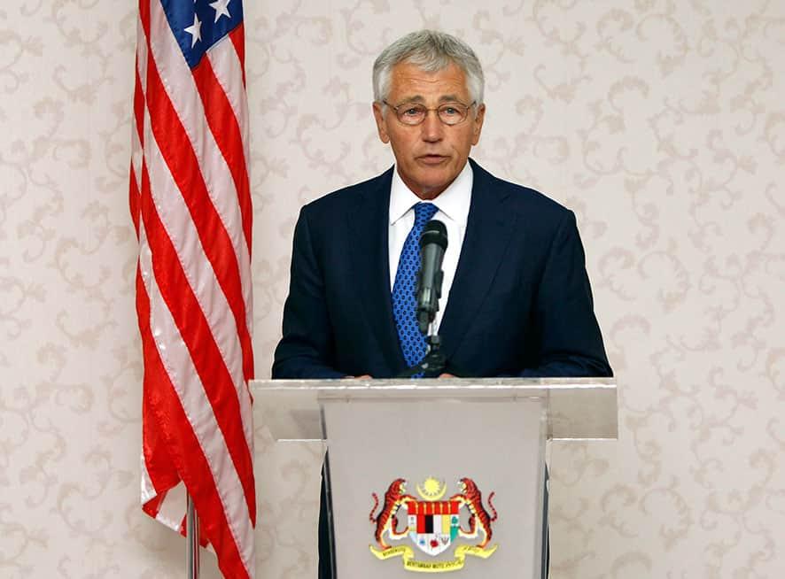 US Defense Secretary Chuck Hagel speaks during a joint press conference with Malaysian Defense Minister Hishammuddin Hussein in Kuala Lumpur, Malaysia.