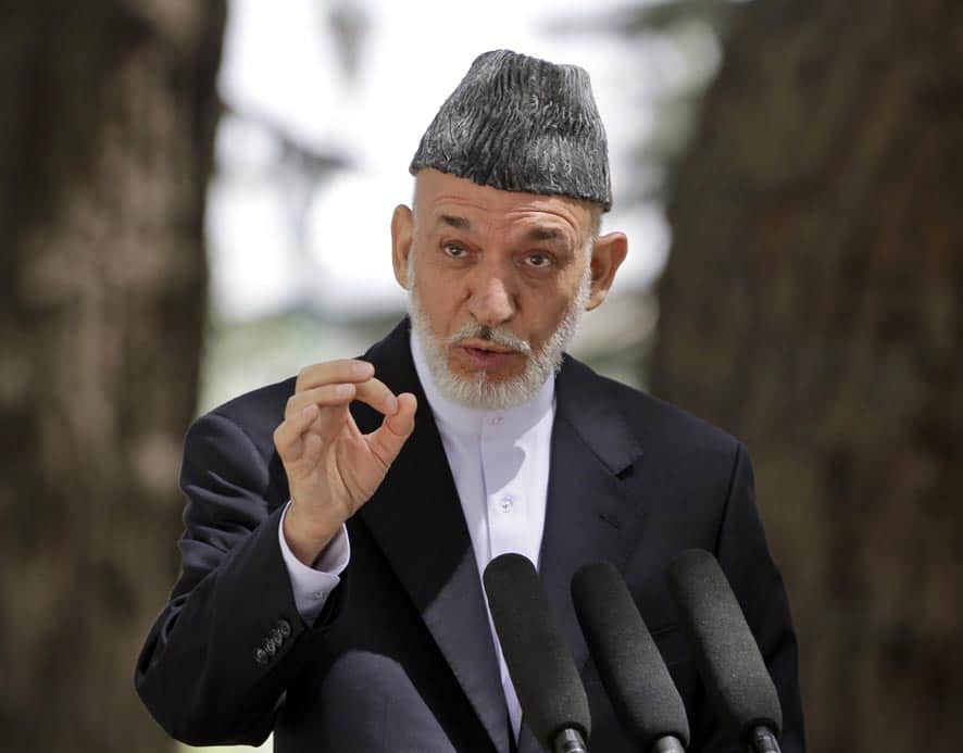 Afghan President Hamid Karzai speaks during a press conference at the presidential palace in Kabul, Afghanistan.