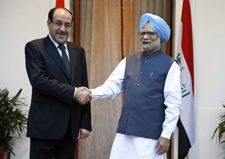 Indian Prime Minister Manmohan Singh shakes hands with Iraqi Prime Minister Nouri al-Maliki before a meeting in New Delhi.