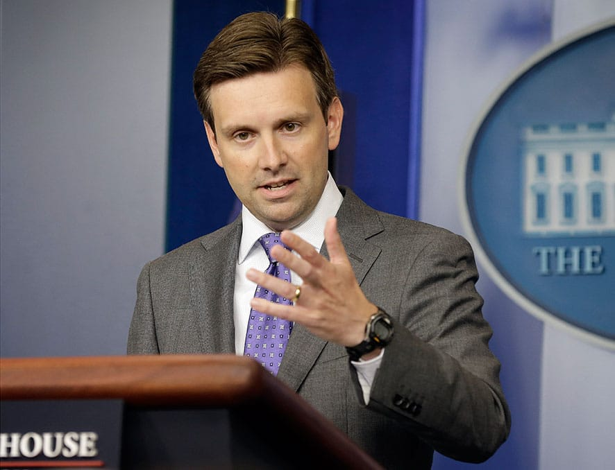 White House deputy press secretary Josh Earnest speaks during his daily news briefing at the White House in Washington.