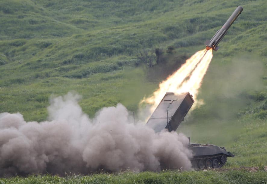 A Japan Ground Self-Defense Force anti-land mine missile is launched during an annual live firing exercise at Higashi Fuji range in Gotemba, southwest of Tokyo.