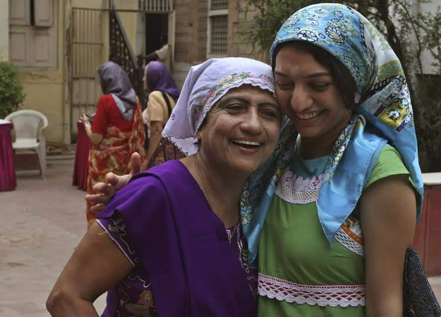 Parsis greet each other at Fire Temple, on Navroze, the Parsi New Year, in Ahmedabad.