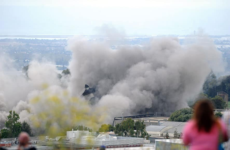 Warren Hall is imploded on the campus of Cal State East Bay in Hayward, Calif.