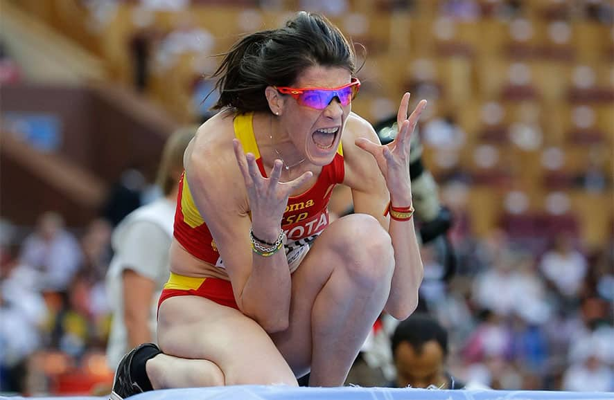 Spain`s Ruth Beitia reacts after an attempt in the men`s high jump final at the World Athletics Championships in the Luzhniki stadium in Moscow, Russia.