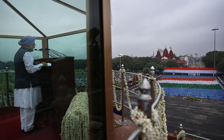 Prime Minister Manmohan Singh addresses the nation from the ramparts of Red Fort to celebrate Independence Day, in New Delhi.