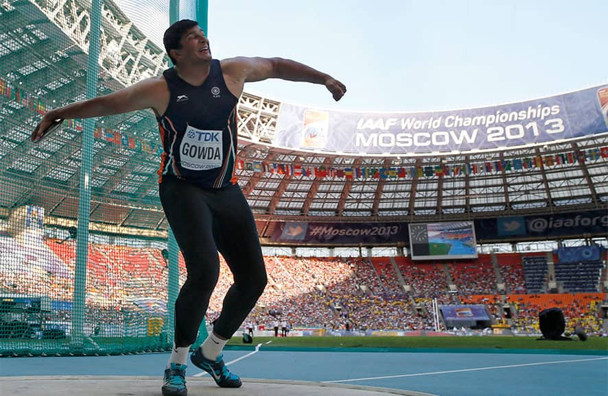 India`s Vikas Gowda competes in the men`s hammer throw final at the World Athletics Championships in the Luzhniki stadium in Moscow.