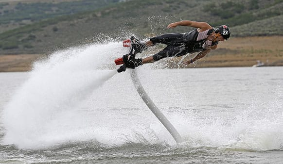 Rocky Mountain Flyboard instructor Chase Shaw demonstrates his flyboard, on the Jordanelle Reservoir, at Jordanelle State Park, Utah.