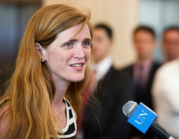 In a photo provided by the United Nations, the United States new ambassador to the UN Samantha Power speaks before presenting her credentials to UN Secretary General Ban Ki-moon, at UN headquarters.