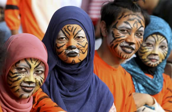 Activists with faces painted to resemble tigers, take part in a protest against Sumatran tiger trade that marks the Global Tiger Day, in Jakarta.