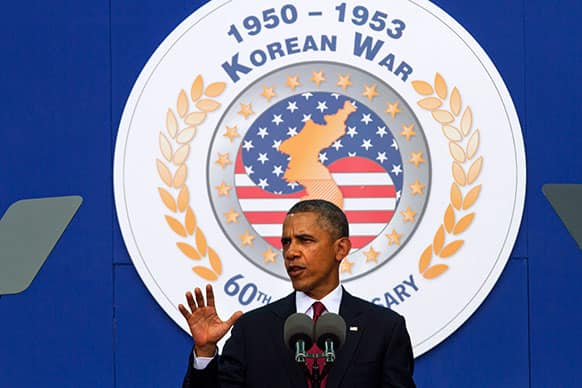 President Barack Obama speaks on occasion of the 60th anniversary of the end of the Korean War at a commemorative ceremony near the Korean War Veterans Memorial on the National Mall in Washington.