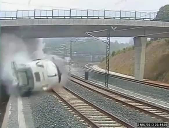 This image taken from security camera video shows a train derailing in Santiago de Compostela, Spain.