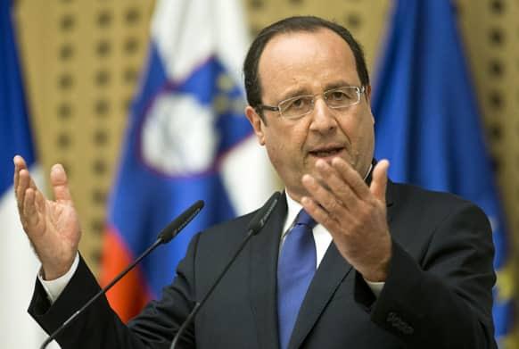 France`s president Francois Hollande speaks during a news conference, in Brdo, Slovenia.