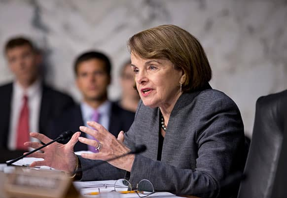 Senate Intelligence Committee Chair Sen. Dianne Feinstein, D-Calif., asks questions about the fate of prisoners at the Guantanamo Detention Center during a hearing by the Senate Judiciary subcommittee on Constitution, Civil Rights & Human Rights, on Capitol Hill in Washington.