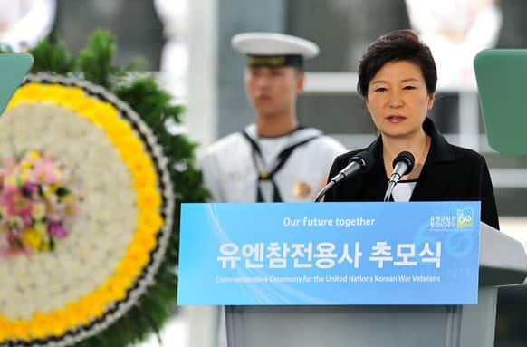 South Korean President Park Geun-hye speaks during a commemorative ceremony for the UN-Allied Nations Korean War Veterans at the UN Memorial Cemetery in the southeastern port city of Busan, South Korea.
