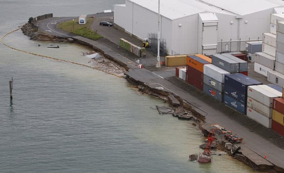 This aerial photo, shows the CentrePort container wharf in Wellington damaged as a result of a magnitude 6.9 earthquake that hit the capital of New Zealand.