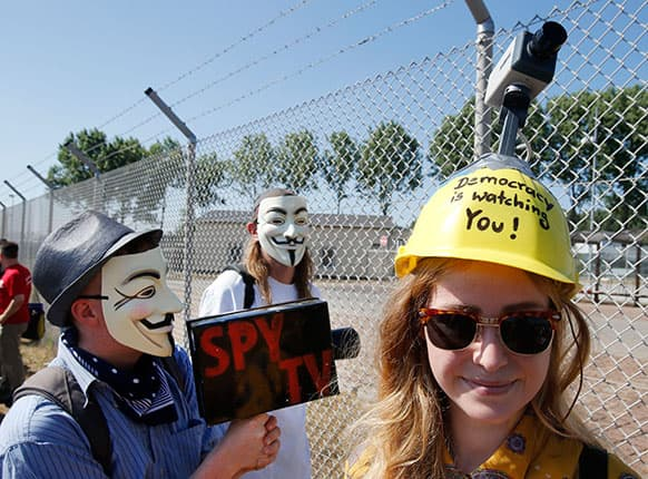 THE PROPERTY IS SUPPOSED TO BE USED BY THE NSA -A woman wears a helmet reading