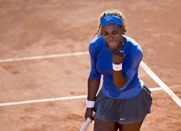 Serena Williams of the US reacts after winning her women`s singles semifinal match against Klara Zakopalova of the Czech Republic at the Swedish Open tennis tournament in Bastad, Sweden.
