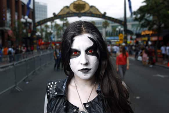 Jessica Monterio, dressed as Lobo from DC Comics, poses for a photo, during Comic-Con in San Diego.