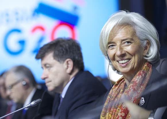 Christine Lagarde, the Managing Director of the International Monetary Fund, attends a meeting of the Group of 20 finance ministers in Moscow, Russia.