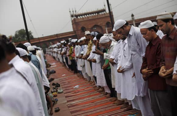 Muslims pray on the second Friday of the Muslim holy fasting month of Ramadan at Jama Masjid or, the Grand Mosque, in New Delhi.