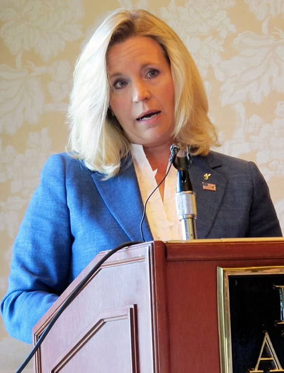 Liz Cheney addresses reporters, at the Little America Hotel in Cheyenne, Wyo. Cheney, daughter of former Vice President Dick Cheney, announced this week she intends to challenge incumbent Sen. Mike Enzi, R-Wyo.