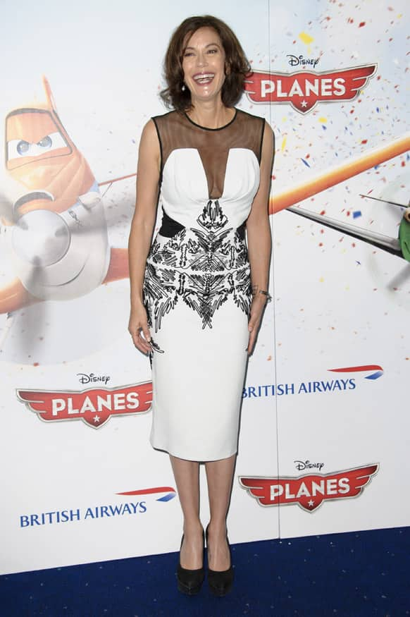 US actress Teri Hatcher arrives for the UK screening of Planes at a central London cinema, London.