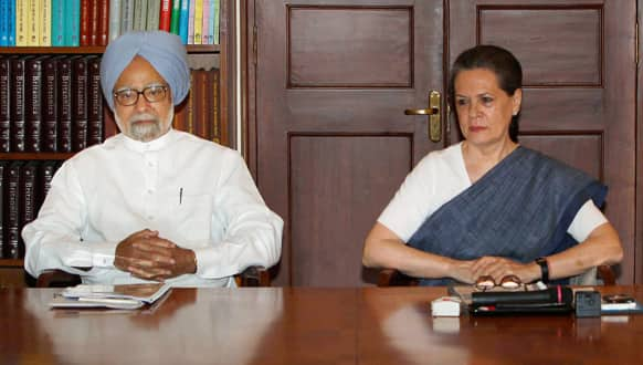 Prime Minister Manmohan Singh and Congress party President Sonia Gandhi attend a meeting in New Delhi.