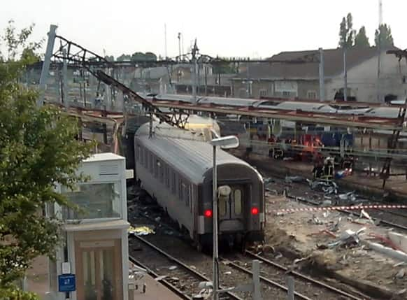 A view of the Bretigny sur Orge train station, south of Paris, after a train derailed.
