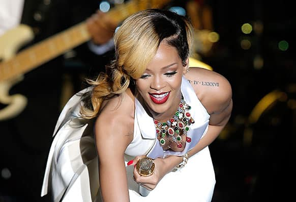 Singer-songwriter Rihanna performs at