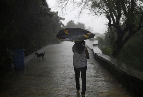 A girl`s umbrella gets folded upwards due to strong wind as she walks during monsoon rains in Mumbai.