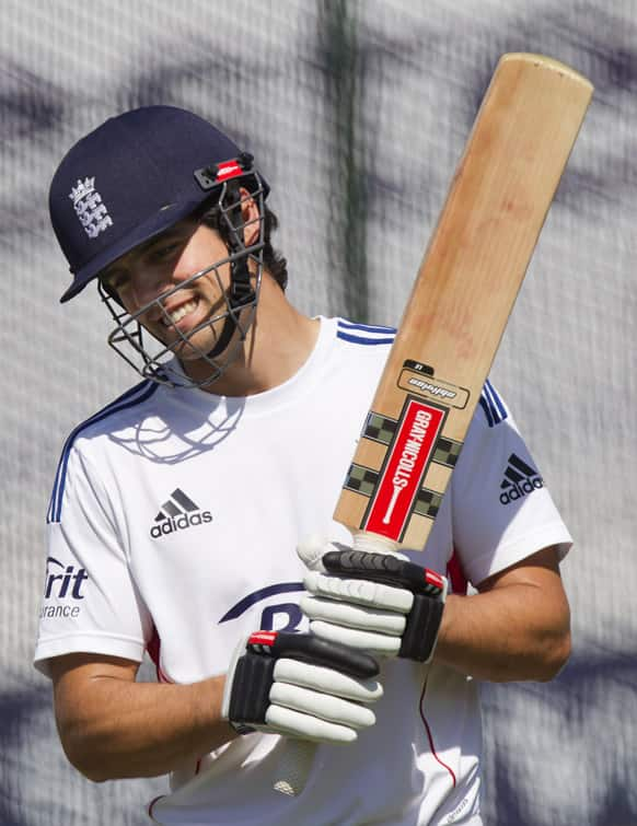 England`s captain Alastair Cook smiles during nets practice the day before the side`s opening Ashes cricket match against Australia at Trent Bridge cricket ground, Nottingham, England.